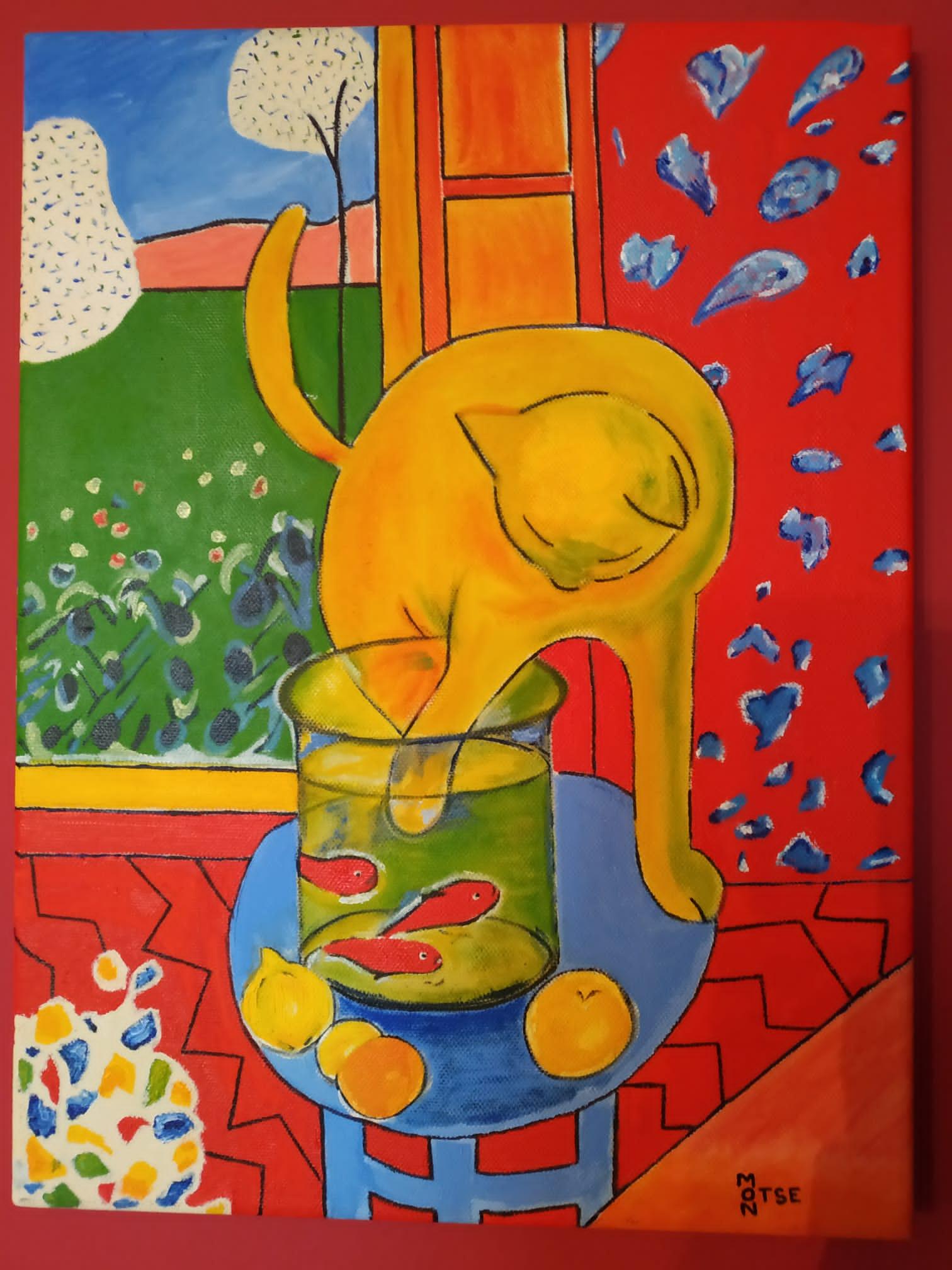 O gato de peixes vermellos